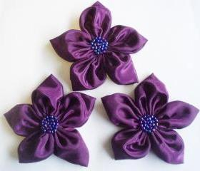 Purple Handmade Appliques Embellishments(3 pcs)