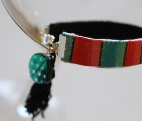Friendship Bracelet, Hand Painted, Stack Bracelets, Upcycled, tassel, beads, Boho, Gypsy, Hippie