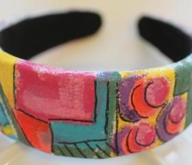 Mondrian Inspired Hand Painted Headband, Bohemian, Gypsy, Upcycled, Trend