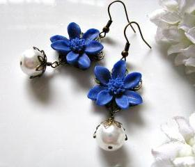 Navy Blue Iris With White Glass Pearls Earrings