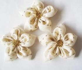 Cream and Golden Flowers Handmade Appliques Embellishments(3 pcs)