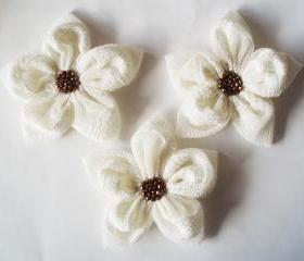 CreamTextured Tulle With Brown Beads Flowers Handmade Appliques Embellishments(3 pcs)