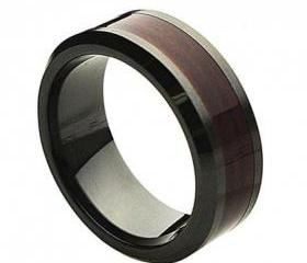 Ceramic Ring 'FREE ENGRAVING' Wedding Wood Inlay Band MMCR245 8mm Black Ceramic engagement ring