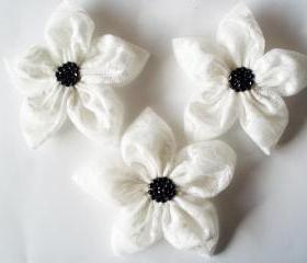 WhiteTextured Tulle With Black Beads Flowers Handmade Appliques Embellishments(3 pcs)