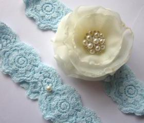 Bridal Garter - Stardust Something Blue Garter Set (including toss garter) -Special Offer for Limited Time ONLY 15% Off