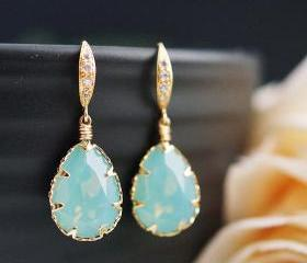 Wedding Bridal Earrings Bridesmaid Earrings Mint Pacific Opal Swarovski Crystal drop dangle Earrings
