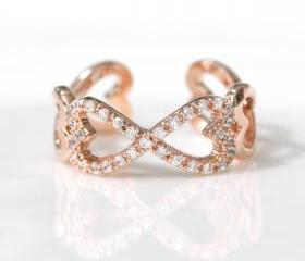 Infinity and Heart adjustable ring in pink gold