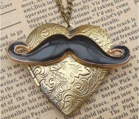 Steampunk Mustache Locket Necklace Vintage Style Original Design