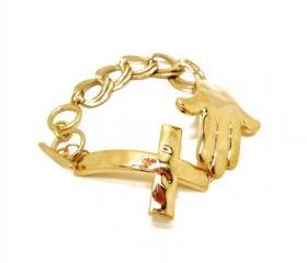 Cross and Hand Bracelet