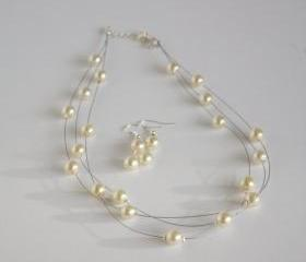 Ivory faux pearl multi strand illusion bridal necklace and earrings set