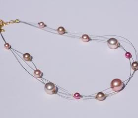 Pink glass pearl multi strand illusion necklace
