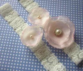 Bridal Garter / Bridal Garter Set (including toss garter ) Pink & Ivory Shown - Available in all colours