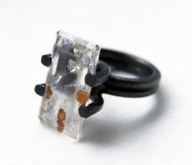 Oxidized Sterling Silver Ring. Dendritic Quartz. One of a Kind. SILEX Ring. US Size: 6. Handmade by Maria Goti Joyas.