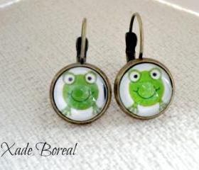 Dangle Earrings - Bronze tone-Cute frog
