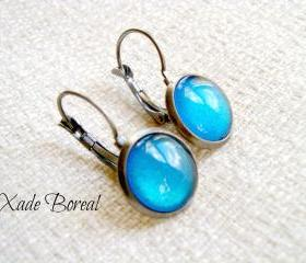 Empire State Blue-Antiqued Silver Gunmetal dangle earrings