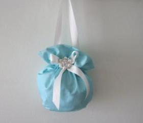 Flower Girl Bag - Tiffany Blue - Available in all wedding colours