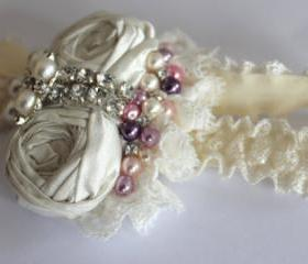 Ivory Garter Set / Bridal Garter - Luxury Rosebud Wedding Garter - New 2013 Collection - Introductory Offer 40% OFF