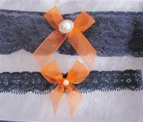 Bridal Garter Set - Navy Blue & Orange Garter Set -The Original Simply Chic Garter
