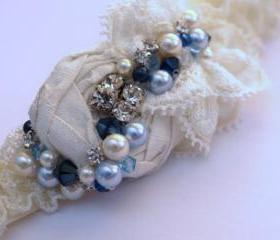 Ivory Garter Set / Bridal Garter - Something Blue - Luxury 'Phoebe' Wedding Garter - New 2013 Collection - Introductory Offer 40% OFF