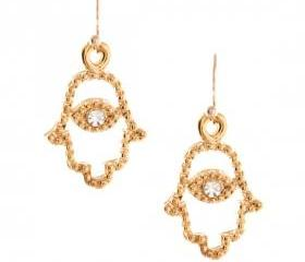 Golden Hamsa Hand Drop Earrings