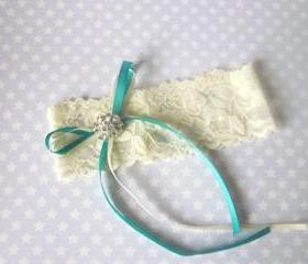 Bridal Garter - Simply Ribbon Chic - Ivory lace shown