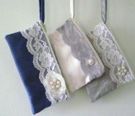 Wedding / Bridal / Bridesmaid Clutch - Custom Clutch Purse - Flower Brooch Bridesmaid Purse