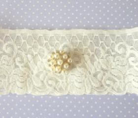 Bridal Garter - Ivory with Pearls - Special Offer for Limited Time ONLY 15% Off
