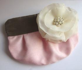 Wedding / Bridal / Bridesmaid Clutch - Pink, Brown & Ivory - Stardust Brooch Bridesmaid Purse