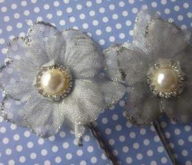 Bridal Hair Clips - Set of 2 - Simply Flowers - Silver
