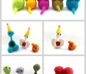Pheeple and Mice Postcards, Art Cards - Set of 5 Photo cards of Needle Felted Pheeples and Mice