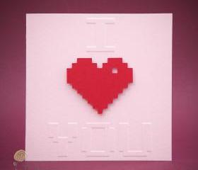 Valentine's Day Geeky Card - 8-bit I Heart You Greeting Card