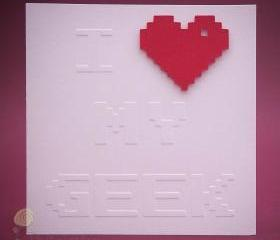 Valentine's Day Geeky Card - I Heart My Geek Greeting Card