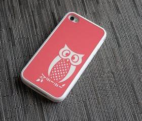 Coral and White Owl Custom iPhone 4 or 4s Silicone Case