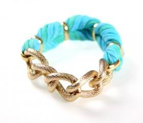 Braided Fabric Womens Bracelet Bangle Cuff Jewelry Friendship Knot Tribal Wrap Infinity Boho Stack Stacking Bangles Bracelets Baby Blue