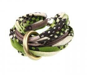 Womens Fashion Unique Chunky Knot Bracelet Jewelry Braided Bangles Fabric Friendship Cuff Tribal Boho Bangle Bracelets Green Brown Black