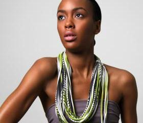 green scarf high fashion Fall winter black fabric tribal necklace Spring Scarf Summer Fashion