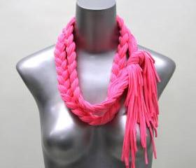 pink scarf bohemian necklace summer neon tribal jewelry Spring Scarf Summer Fashion