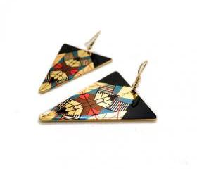Metallic Geo Pattern Drop Earrings