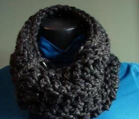 Sparkle Chunky Front Button Cowl Snood Cowl Scarf - Constelation