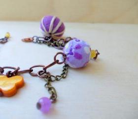 Colorful Charm Bracelet, Copper Chain Bracelet, Felt Jewelry, Hippie Boho Fashion, Semi precious stones, Under 50 30 25