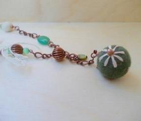 Green Romantic Beaded Necklace,Green White,Felt Beaded Necklace,Chain Necklace,Romantic Boho Fashion,Under 50