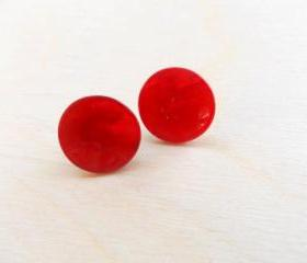 Red Earring Studs , Mother of Pearl Earring Posts , Button Earring Posts, Under 20