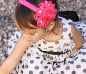 Hotpink Headband Toddler Girls Pink Headband with Pink Embellishments - Girls Pink Accessory