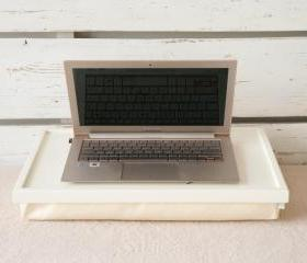 Breakfast serving Tray or Laptop Lap Desk- Off white with ivory Linen fabric