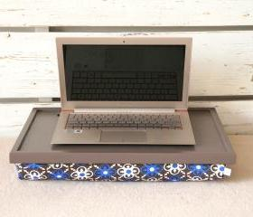 I- Pad stand or Laptop Lap Desk- Greyish brown with Mediterranean print lycra Pillow
