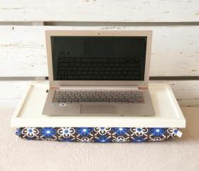 I- Pad stand or Laptop Lap Desk- Off White with Mediterranean print lycra Pillow
