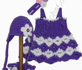 Newborn Purple Dress (Set) with Matching Purple Hat, Purple Headband, Purple Booties -Free Shipping
