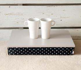I- Pad stable table or Laptop Lap Desk without edges - Soft Grey with Black Polka Dot pillow- Custom Order