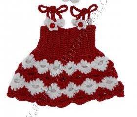 Girls Red Dress ( Set) with Matching Hat - Baby Girls Red and White Dress - Handmade Christmas Newborn Dress