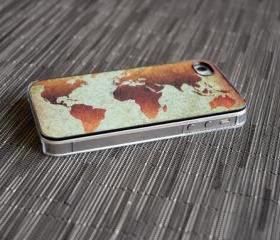 Classic World Map Custom 4 or 4s iPhone Case